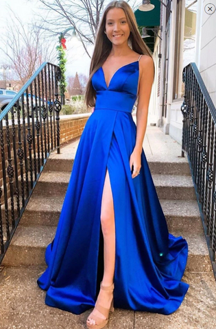SIMPLE V NECK BLUE SATIN LONG PROM DRESS BLUE FORMAL DRESS 2283