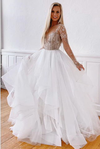 White round neck tulle lace long prom dress white evening dress 2380