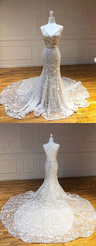 Unique sweetheart lace tulle mermaid long prom dress lace wedding dress 2391