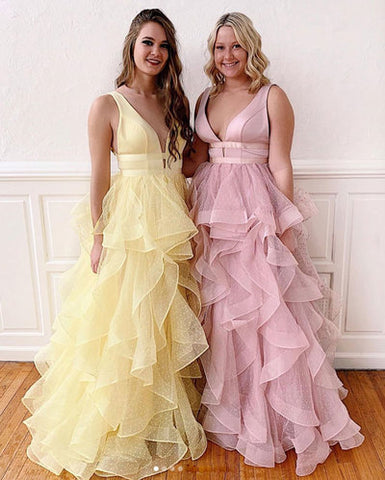 Yellow tulle long prom dress, tulle formal dress 2399
