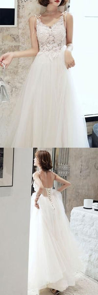 White lace tulle long prom dress white tulle lone evening dress 2417