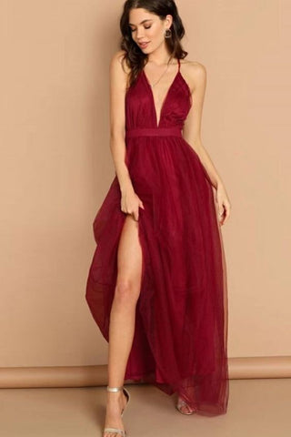 Simple v neck burgundy tulle long prom dress 2459