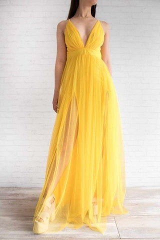 Yellow A Line Tulle Prom Dress,Long Evening Dress,Spaghetti Strap Formal Dresses 2493