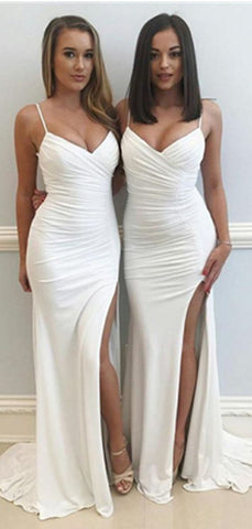 Spaghetti Straps White V-neck High Split Long Prom Dress Spaghetti Straps White V-neck High Split Long Prom Dress,F0002