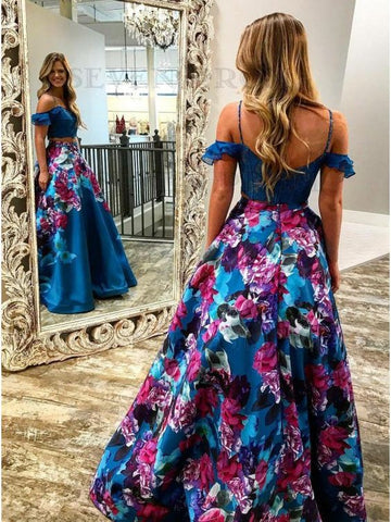 Two Piece Spaghetti Straps Cold Shoulder Royal Blue Floral Prom Dress 2622