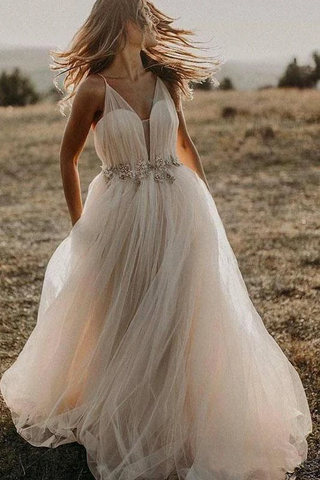 Spaghetti Straps Tulle Deep V-Neck Wedding Dresses, Romantic Bohemian Beach Bridal Dress 2624