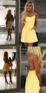 A-Line Spaghetti Straps Backless Yellow Short Homecoming Dress With Pockets 2475