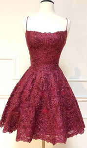formal short homecoming dresses, spaghetti straps cocktail party dresses, burgundy lace homecoming dresses 2476