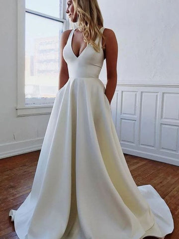 Memorable Magic A-Line/Princess V-neck Satin Ruffles Sleeveless Sweep/Brush Train Wedding Dresses 2754
