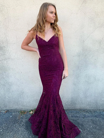 V Neck Backless Mermaid Purple Lace Prom Dresses, Backless Purple Lace Mermaid Formal Evening Dresses 2783