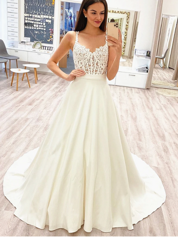 V Neck White Lace Wedding Dresses with Train, V Neck White Lace Prom Formal Evening Dresses 2795