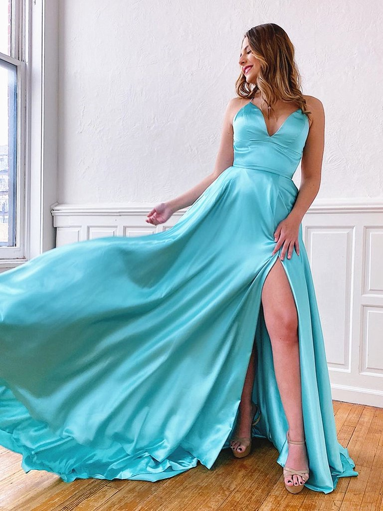 V Neck Aqua Backless Long Prom Dresses, Aqua Backless Long Formal Evening Graduation Dresses 2798