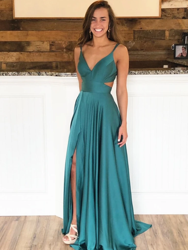 A Line V Neck Green Prom Dresses, V Neck Green Formal Evening Bridesmaid Dresses 2799