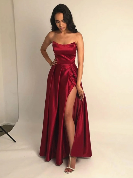 Strapless Navy Blue/Burgundy Prom Dress with Leg Slit, Navy Blue/ Wine Red Formal Evening Bridesmaid Dresses 2800