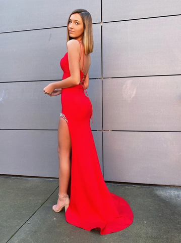 2 Pieces Red Prom Dresses with Leg Slit, Two Pieces Red Formal Evening Dresses 2804