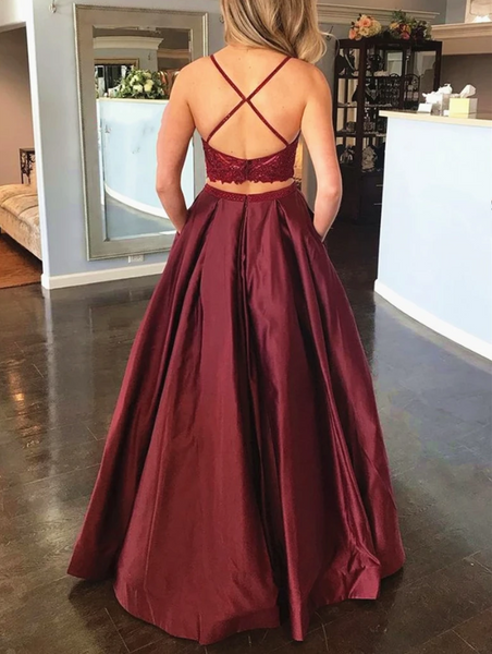 2 Pieces Burgundy Lace Prom Dresses, Two Pieces Burgundy Lace Formal Evening Dresses 2808