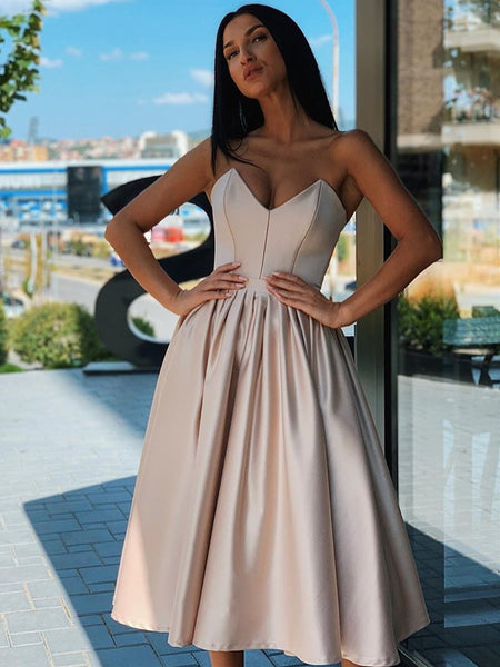 Sweetheart Neck Short Champagne Pink Prom Dresses, Short Champagne Pink Formal Homecoming Dresses 2815