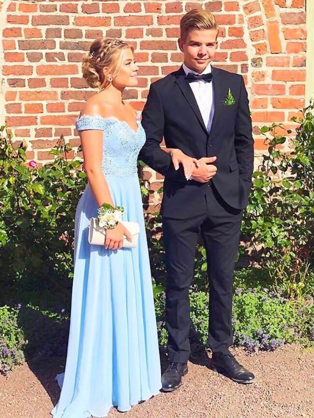 Off Shoulder Blue Lace Prom Dresses, Off the Shoulder Blue Lace Bridesmaid Dresses, Long Formal Dresses 2820