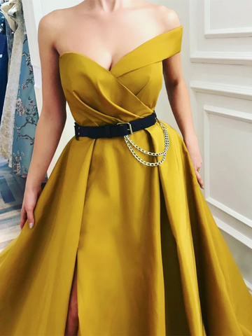Sweetheart Neck One Shoulder Yellow Prom Dresses Long, One Shoulder Yellow Formal Graduation Evening Dresses 2823