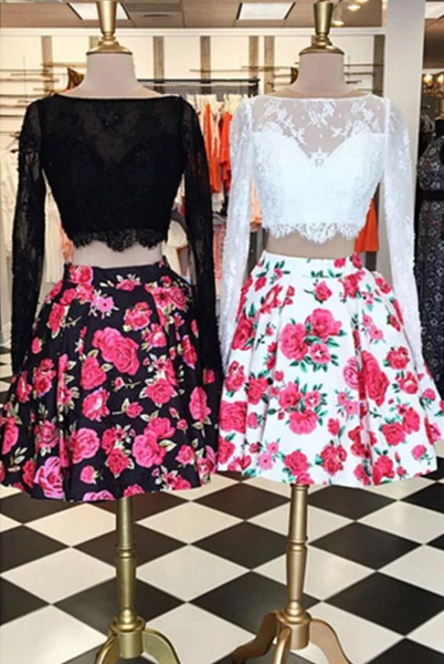 Charming 2 Pieces Long Sleeves Floral Black/White Lace Prom Dresses, Homecoming Dresses, Formal Dresses 2840