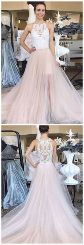 HALTER TULLE LONG PROM DRESSES WITH APPLIQUES EVENING GOWNS 2861