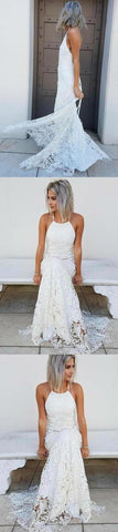 Simple Halter Mermaid Lace Appliques Wedding Dress Backless Beach Bridal Gowns 2867