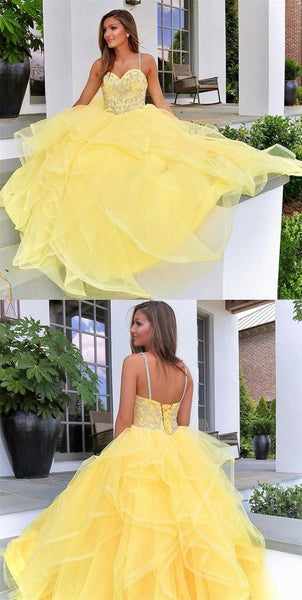 Yellow Prom Dresses,Beaded Prom Dress,Sweet 16 Dress,Junior Evening Dresses,Senior Prom Dresses  2881