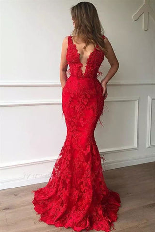 STRAPS MERMAID RED PROM DRESSES WITH APPLIQUES FURTHER 2925