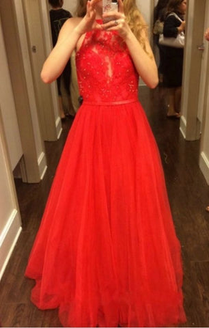 HALTER TULLE LONG PROM DRESSES WITH APPLIQUES 2929