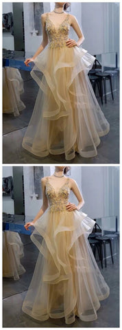 V Neck A Line Tulle Rhinestone Prom Dresses 2961