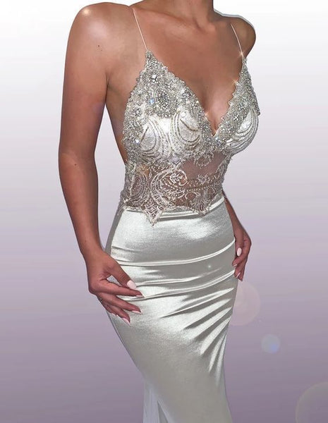 Mermaid silver v neck sexy long prom dress,2972