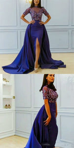 Mermaid Jewel Detachable Train Split Front Royal Blue Beaded Prom Dress with Sleeves 2974