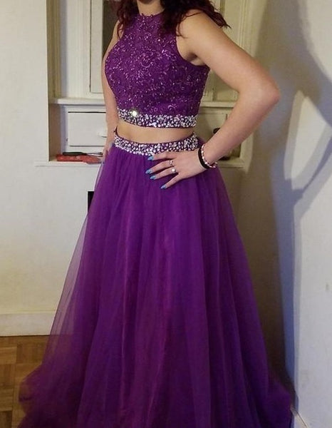 Beautiful Fashion Two Piece Beaded Lace Prom Dress Custom Made Long Two Pieces Party Dress,2986