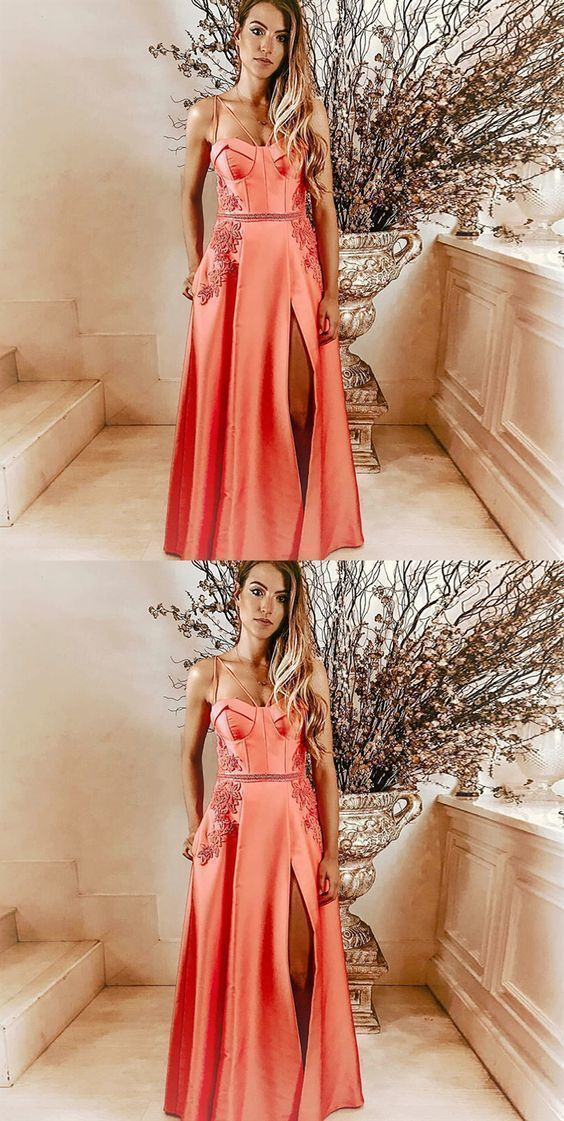 A-Line Spaghetti Straps Pink Long Prom Dress with Pockets Appliques,2990