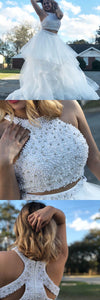 Two Piece White Long Prom Dress with White Pearls, Elegant 2018 White Prom Dress, Party Dress,2991
