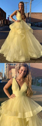 Yellow sweetheart tulle long prom dress yellow formal dress 2993