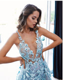 Pale Blue Tulle Lace Applique Illustion A-Line Prom Dresses,M0135