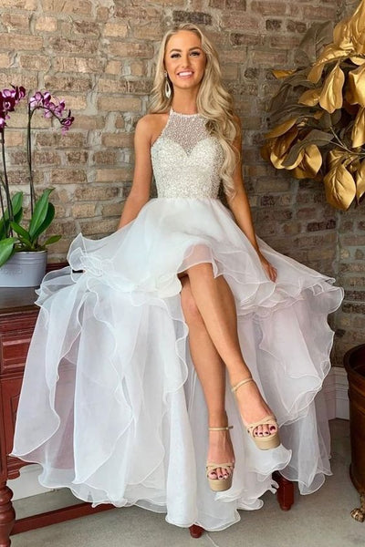 White high low tulle prom dress, homecoming dress,3001