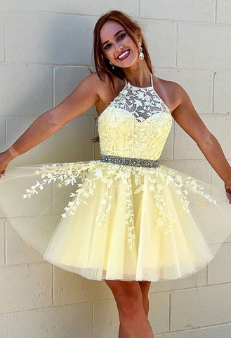 Yellow tulle lace short prom dress party dress,3182
