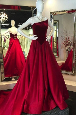 Winter burgundy velvet backless long train satin evening prom dress,3301