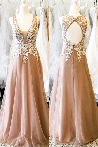 Hollow Out Back Appliqued Long Champagne Prom Dress with Appliques.3305