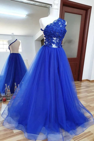 Royal Blue Tulle Lace One Shoulder Long Prom Dress, Homecoming Dress,3307