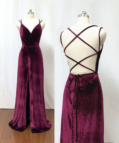Burgundy Velvet Criss Cross Back Floor Length V Neck Slit Prom Dress, Evening Dress ,3310
