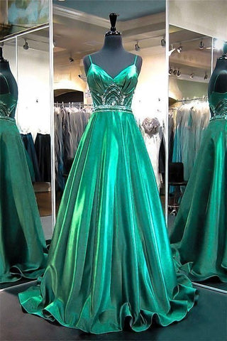 Beautiful Stunning A Line Sweetheart Cut Out Back Emerald Green Satin Beaded Prom Dress With Strap,3315
