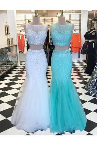 Two Pieces Mermaid Beaded Prom Dresses Party Evening Gowns,3327