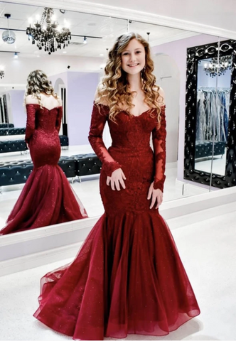 Burgundy lace prom dress mermaid evening dress,3330