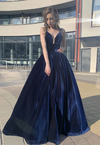 Blue v neck velvet long prom dress evening dress,3331