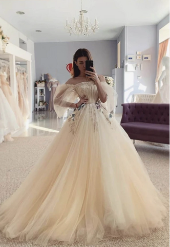 Champagne tulle long prom dress evening dress,3333