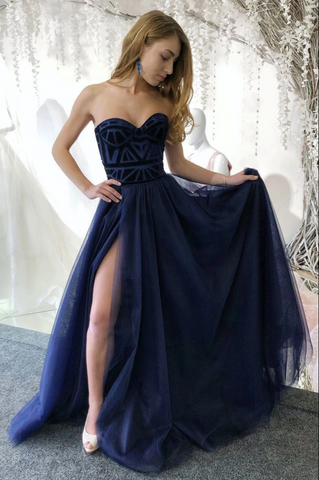 A Line Strapless Sweetheart Navy Blue Tulle Side Slit Long Evening Dress Prom Dress ,3341