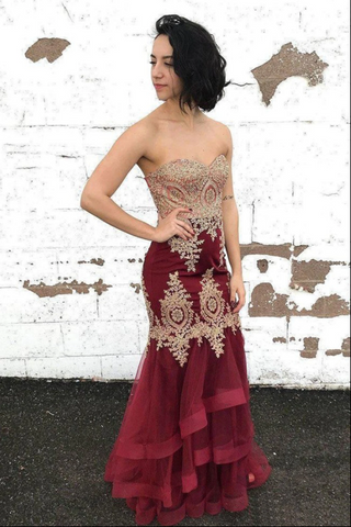 Sexy Burgundy Tulle Strapless Sleeveless Long Lace Up Multi-layered Evening Dress Prom Dresses,3342